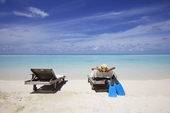 Lounge on Beach royalty free stock images