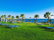 Lounge beach. On green grass near Mediterranean view royalty free stock image