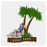 Lounge on the beach under a palm tree. Beach chair with sea on tropical background. Royalty Free Stock Photos