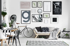 Lounge in black and white. Spacious cozy lounge designed in black and white colors stock image