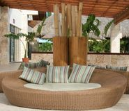 Lounge Chair. A large wicker lounge chair Royalty Free Stock Image