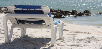 Lounge Chair on the Beach Royalty Free Stock Photography