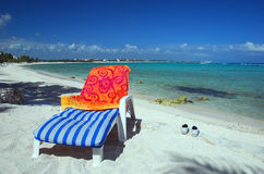 Lounge chair on beach Royalty Free Stock Photo