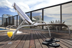 Lounge Chair. Beach chair on hotel roof Royalty Free Stock Images
