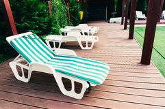 Lounge chair on deck Royalty Free Stock Photos