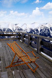 Lounge chair at ski resort(Alps) Royalty Free Stock Image