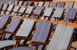 Lounge Chairs. Empty lounge chairs on a cruise ship Royalty Free Stock Photo