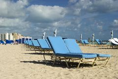 Lounge chairs on the beach. Rows of blue lounge chairs on the beach Royalty Free Stock Image