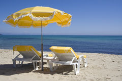 Lounge chairs on the beach of saint-tropez Stock Images