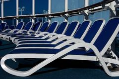 Lounge chairs on a cruise ship stock photography