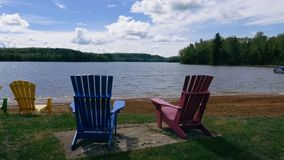 Lounge Chairs on a Georgian Bay Island Shore stock video footage