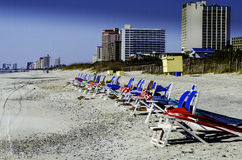 Lounge Chairs On Myrtle Beach In The Winter Stock Image