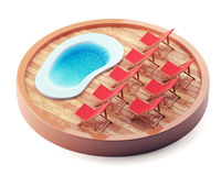 Lounge chairs near the pool on wooden plate. Royalty Free Stock Images