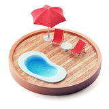 Lounge chairs near the pool on wooden plate. Royalty Free Stock Photos