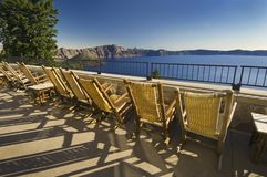 Lounge Chairs Overlooking Crater Lake Royalty Free Stock Photos
