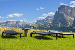 Lounge Chairs Overlooking in mountains Royalty Free Stock Photos