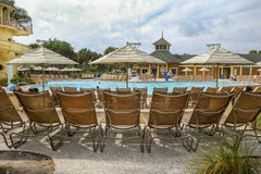 Lounge Chairs at Resort Pool Royalty Free Stock Photo