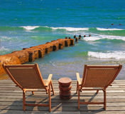 The lounge chairs for rest Royalty Free Stock Photo