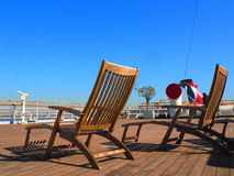 Lounge chairs on Ship deck Stock Image