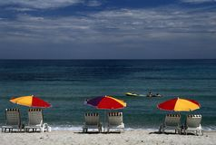 Lounge Chairs And Sun Umbrellas Royalty Free Stock Photo