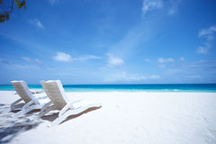 Lounge chairs tropical beach Stock Image