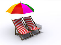 Lounge chairs and umbrella Royalty Free Stock Photography