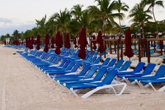 Lounge Chairs and Umbrellas at Beach Resort royalty free stock image