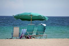 Beach umbrella on Dania Beach, in Fort Lauderdale, Florida Royalty Free Stock Photo