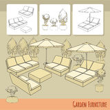 Lounge chairs under patio umbrella and flowers in pot. Vector illustration of hand drawn lounge chairs under patio umbrella and flowers in pot. Garden accessory Royalty Free Stock Image