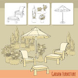 Lounge chairs under patio umbrella and flowers in pot. Vector illustration of hand drawn lounge chairs under patio umbrella and flowers in pot. Garden accessory Stock Image