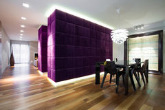 Lounge with closet. Modern big lounge with fancy violet closet stock images