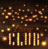 Lounge club glowing lights. Vintage poster lounge club glowing lights on wood background in retro styles Royalty Free Stock Photo