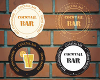 Lounge cocktail party badges and logo templates. With Screw driver cocktail. Vintage design for bar or restaurant.  on brick wall background. Vector Royalty Free Stock Image
