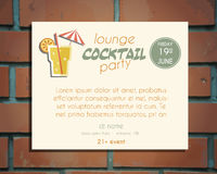 Lounge cocktail party poster invitation template. With Screw driver cocktail. Bright Vintage design for bar or restaurant.  on brick wall background. Vector Stock Photo