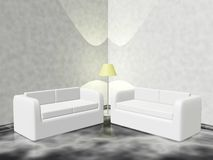 Lounge Corner with Couch Sofas and Lamp Royalty Free Stock Photos