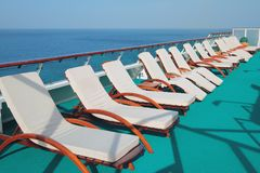 Lounge on deck of cruise liner. 08-11-2017, St. George`s, Grenada stock photo