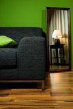 Lounge green room with couch and lamp in mirror. Green room with lamp in mirror Royalty Free Stock Photo