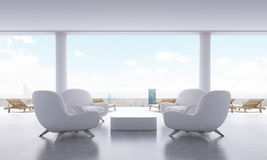 Lounge interior with armchairs. Lounge interior with small coffee table, armchairs and chaise longues on New York city background. 3D Rendering Stock Image