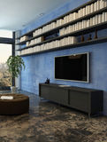 Lounge interior with blue wall, bookshelf and stool Royalty Free Stock Images