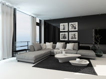 Lounge interior in a coastal apartment Royalty Free Stock Photos