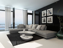 Lounge interior with a dark accent wall Stock Photos