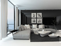 Lounge interior with a dark accent wall Royalty Free Stock Photography