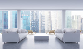 Lounge interior with Singapore view Stock Photography