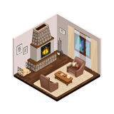 Lounge Isometric Interior With Fireplace Royalty Free Stock Images
