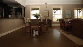 Lounge in resort lodge stock image