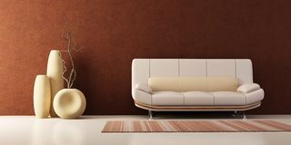Lounge room with couch and vases Stock Image