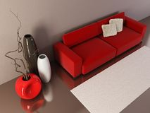 Lounge room with couch and vases Stock Photography