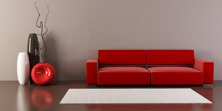 Lounge room with couch and vases Stock Photo