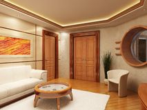 Lounge room interior. 3d rendering of the lounge room in yacht style Royalty Free Stock Photos