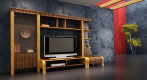 Lounge room interior with bookshelf and TV. 3d interior with modern bookshelf with TV Stock Photos